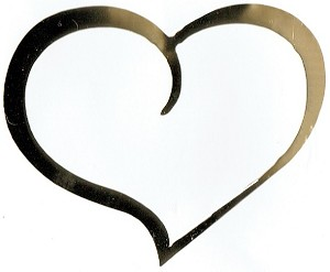 Vinyl Decal Heart Curve-Gold Mirror