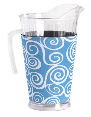 Acrylic Pitcher with SLEEVE Swirl Turq