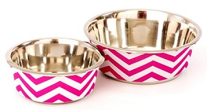 Pet Bowl Chevron Pink Lg