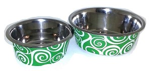 Pet Bowl Swirl Lime Lg