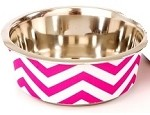 Pet Bowl Chevron Pink Sm