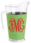Acrylic Pitcher with SLEEVE Faux Jute Lime