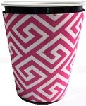 Solo Cup Koozie Greek Key Hot Pink/wh