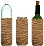Tall-Can-WINE Bottle Koozies JUTE Tan