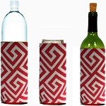 Tall-Can WINE Bottle Koozies Greek Key Red
