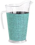 Acrylic Pitcher with SLEEVE Faux Jute turq